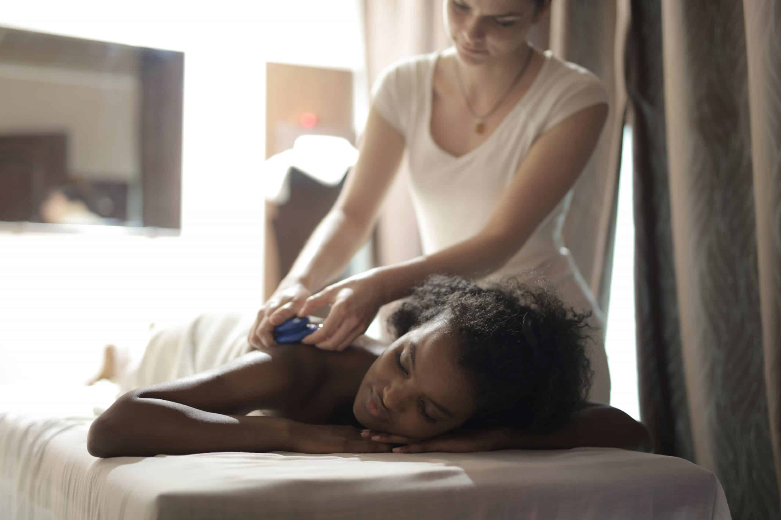 Woman having a massage therapy.